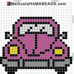 VW Beetle hama perler beads pattern by JohnsonKathy - diy Beaded Cross Stitch, Cross Stitch Charts, Cross Stitch Designs, Cross Stitch Embroidery, Cross Stitch Patterns, Loom Patterns, Beading Patterns, Quilt Patterns, Broderie Simple