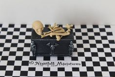 Dollhouse Miniature Spooky Halloween Skull by NightfallMiniatures