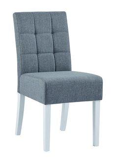Sisse+Spisebordsstol+-+Grå+stof+-+Flot+spisebordsstol+med+gråt+polstret+sæde+og+ryglæn.+Stolbenene+er+hvidlakerede,+hvilket+er+med+til+at+give+stolen+en+snert+af+elegance.