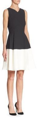 Roland Mouret Fit-and-Flare Colorblock Dress