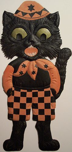 Vintage German Halloween Cat with Beanie Diecut