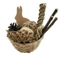Rabbit Gift Basket with Rabbit Wood Chew, Natural Bunny Toys, Small Pets, Guinea Pig, Chinchilla Gif Rabbit Toys, Bunny Toys, Guinea Pig Toys, Guinea Pigs, Chinchilla Toys, Vine Wreath, Bamboo Basket, Cool Toys, Little Gifts