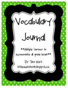 Vocabulary Journal templates  www.littlemindsatwork.blogspot.com
