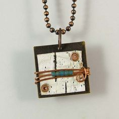 Birch Bark and Metal Necklace by XOHandworks $18