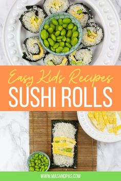 This recipe for easy sushi rolls is perfect for kids and beginners! Includes step-by-step instructions for making sushi rolls that your kids will love to eat and love to make. There are three healthy varieties that are all vegetarian sushi recipes. Sushi is also a perfect creative lunchbox addition. #vegetarian #sushi #kidfriendly #food #recipe #vegetariansushi #vegansushi #homemadesushi #sushirolls #sushirecipe Toddler Dinner Recipes, Healthy Toddler Meals, Healthy Family Meals, Healthy Snacks For Kids, Nutritious Meals, Kids Meals, Vegetarian Sushi Recipes, Sushi Roll Recipes, Vegan Sushi