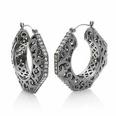 FERN FINDS: Scroll-Design Pavé Stone Hoop Earrings Hsn Jewelry, Scroll Design, Fern, Crochet Earrings, Hoop Earrings, Stone, Fashion, Moda, Rock