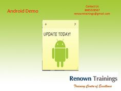 Android tutorial By renown @  ► Subscribe to RenownTrainings: http://goo.gl/nJRRk