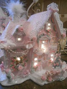 Details about Pink Christmas Village Victorian Village Pink Shabby Chic Pink Cottage Chic Rose shabby pink victorian christmas village bakery house chic roses glitter Shabby Chic Pink, Shabby Chic Crafts, Shabby Chic Homes, Shabby Chic Decor, Shabby Cottage, Shaby Chic, Shabby Chic Interiors, Cottage Chic, Pink Christmas