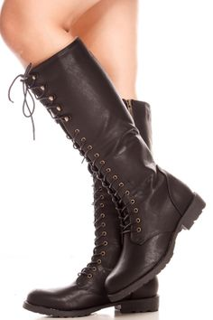 BLACK FAUX LEATHER MATERIAL SIDE ZIPPER FRONT LACE DESIGN KNEE HIGH CASUAL BOOTS