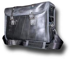 A diaper bag made from recycled tires.