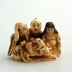 Mammoth Ivory Netsuke - Frog & a Horse in acrobat show