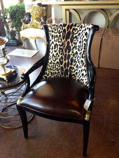 Brittnay Blake Interiors. Houston. Animal print, leather and nailhead trim.
