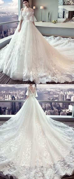 NEW! Fantastic Tulle Off-the-shoulder Neckline Ball Gown Wedding Dress With Lace Appliques & Beadings