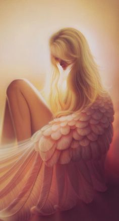 Girl with pink wings art