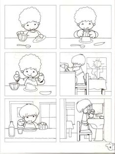 Temporales para recortar y colorear! Sequencing Worksheets, Story Sequencing, School Worksheets, Senses Activities, Preschool Activities, Sequencing Pictures, Picture Composition, School Clipart, Special Education