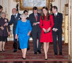 The Queen and The Duchess of Cambridge attend the RADA reception at Buckingham Palace. 17 February 2014.