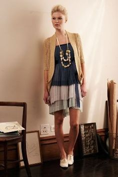 Anthropologie 'Bayan' Dress. Styling up a formal dress to make it look casual.