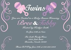 Twins Baby Shower Invitations - A cute customizable baby shower invite if you're having twins!