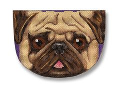 "Needlepoint dog canvas - Adorable Pug face as a small purse. 4 1/2"" across 18 mesh $ 48.00"