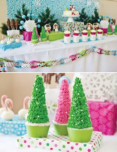 Nutcracker Themed Birthday Party {Playful & Modern} love the wrapping paper chain garland and the wrapped presents on the table