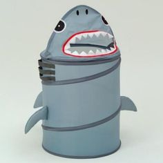 Shark Laundry Hamper - Kids Decor at Kids Furniture Mart-Great for a feed the Shark game or just as decor Shark Nursery, Shark Room, Ocean Nursery, Shark Bathroom, Bathroom Kids, Bathrooms, Retro Furniture, Kids Furniture, Furniture Logo