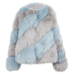Milusha London Arctic Marble Fox Fur Diagonal Jacket ($7,930) ❤ liked on Polyvore featuring outerwear, jackets, fur, tops, fox jacket, blue fox jacket, blue fox fur jacket, fox fur jacket and blue jackets