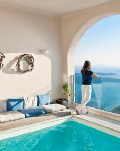 Gold Suites Santorini  ( Santorini, Greece )  With a dramatic location carved into the cliffs, this is one of Santorini's best settings. #Jetsetter #JSVolcano