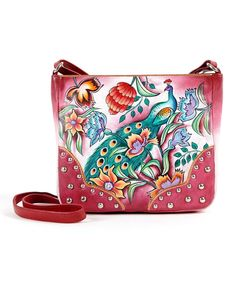 Love this Biacci Pink Hand-Painted Peacock Leather Crossbody Bag by Biacci on #zulily! #zulilyfinds