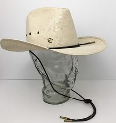 b8e7fbb5cc7 Vintage Charlie 1 Horse Straw Cowboy Hat w Leather Bolo Band Size 7 Made In  USA