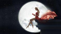 Fantasy Women  Fantasy Woman Red Dress Moon Book Gown Wallpaper