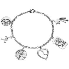 """love this life """"I Love You to the Moon and Back"""" Charm Bracelet ($20) ❤ liked on Polyvore featuring jewelry, bracelets, grey, charm bangles, charm bracelet bangle, charm bracelet, star jewelry and star charm bracelet"""