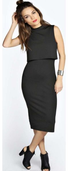 boohoo Leah High Neck Double Layer Midi Dress - black Youll look twice as trend-setting in this double layer midi dress that draws attention to your waist for a more defined silhouette! Wear it with peep toe heels , a slogan clutch and knock-out necklace http://www.comparestoreprices.co.uk/dresses/boohoo-leah-high-neck-double-layer-midi-dress--black.asp