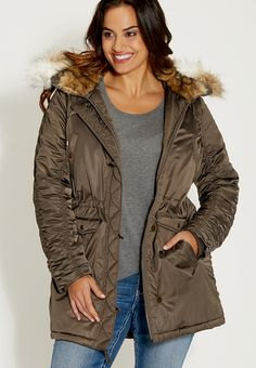 plus size anorak jacket with faux fur hood - #maurices