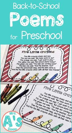 Back-to-School Poems for Preschool   Mrs. A's Room