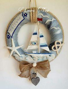 Easy DIY Home Decor Ideas on a Budget - Nautical Style Wreaths- My Nautical wreath Nautical Wreath, Seashell Wreath, Seashell Crafts, Beach Crafts, Diy And Crafts, Arts And Crafts, Beach House Decor, Diy Home Decor, Beach Houses
