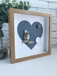 Valentines Pebble Art, Valentines Pebble Picture, Personalized Valentines Picture … - The Best Valentines Frames, Valentine Gifts, Valentines Art, Holiday Gifts, Stone Crafts, Rock Crafts, Art Crafts, Kids Crafts, Paper Crafts