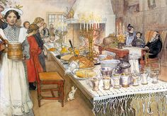"""Image: """"The Christmas Eve"""" a watercolor painting by the Swedish painter Carl Larsson Swedish Christmas Food, Swedish Christmas Traditions, Scandinavian Christmas, Christmas Eve, Sweden Christmas, Holiday Traditions, Christmas Cards, Carl Larsson, Victorian Christmas"""