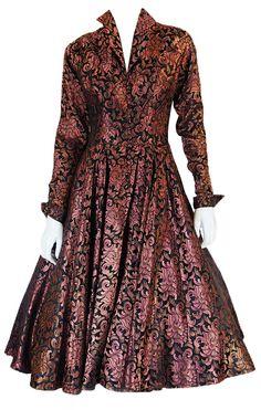 ~1950s Ceil Chapman Copper Silk Dress~ http://fashion.1stdibs.com/avl_item_detail.php?id=64769