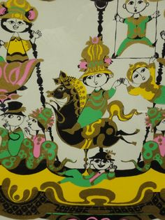 Fanciful 1974 Bjorn Wiinblad Lithograph of a Carousel image 5