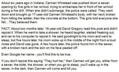 Chain letter claims 16-year-old David Gregory was found dead in a sewer after failing to repost it. Did Carmen Winstead kill him?