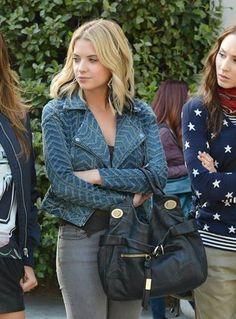 Ashley Benson wearing Free People Zigzag Striped Denim Motorcycle Jacket, Foley + Corinna Jet Set Tote Bag and White Pony Black Triangle Diamonte Earrings