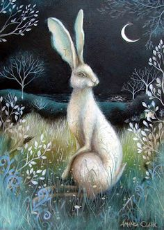 The Hare is a symbol of balance, new life, creativity, fertility and eternity. The symbol of the Hare is connected to Ostara. Illustration by Amanda Clark. Art And Illustration, Illustrations Posters, Fantasy Kunst, Fantasy Art, Lapin Art, Art Fantaisiste, Clark Art, Images Vintage, Rabbit Art