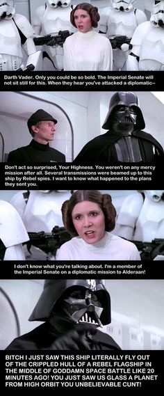 Star Wars - A New Hope real interaction of the time Vader & Leia meet after Rogue One was released. Star Wars Jokes, Pop Culture References, Star War 3, The Force Is Strong, Princess Leia, Funny People, Film, Funny Posts, Hunger Games