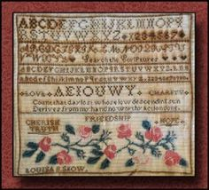 This cross stitch pattern includes the genealogy for Louisa that traces her ancestors back to the Mayflower! This reproduction sampler is s...