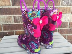 Light Up Multicolored Floral Rain Boots with Hot Pink Bows
