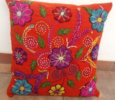 Embroidered cushion cover Peru Orange Sheep and alpaca wool Hand embroidered flowers Pillow cover handmade boho-chic folk eclectic style
