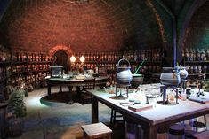 Potions Classroom Hidden deep in Hogwarts dungeons is the Potions Classroom, a room lined with dusty shelves full of peculiar jars and bottles which was the haven of Professors Snape and Slughorn.