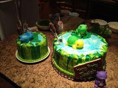Pond Animals 1st Birthday Cake
