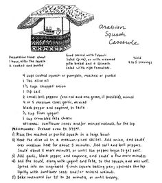 Mollie Katzen Arabian Squash Cheese Casserole One of my all-time favorite recipes! Actually everything in The Moosewood Cookbook is scrumptious!