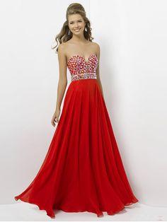 Empire Sweetheart Sleeveless Chiffon Red Prom Dress With Beading #FJ008